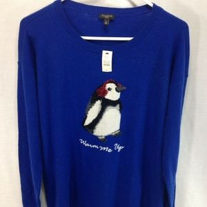 NEW Talbots Sweater Womens Petite Large Blue